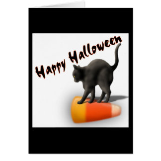 Black Cat and Candy Corn Greeting Card