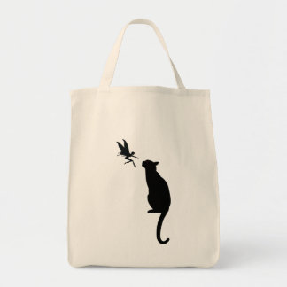 Black cat and fairy silhouette grocery tote bag
