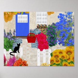 Black Cat and Flower Garden Poster