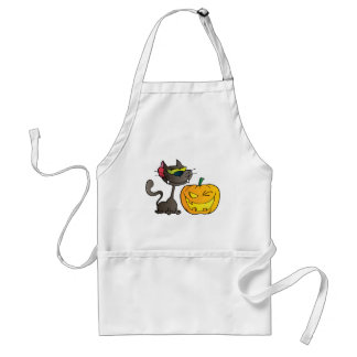 Black Cat And Halloween Pumpkin Winking Aprons