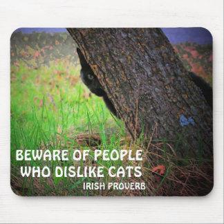Black cat and Irish proverb Mouse Mat