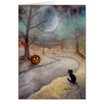 Black Cat and Jack-o-Lantern Fantasy Art Greeting Card