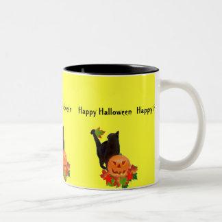 Black Cat and Jack O Lantern Coffee Mugs