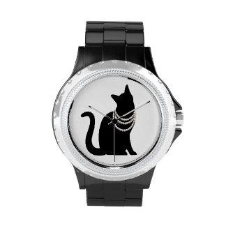 Black cat and jewel line stone wrist watches