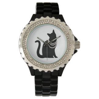 Black cat and jewel line stone watch
