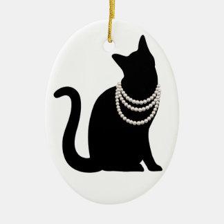 Black cat and jewel ornament