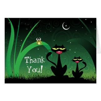 Black Cat and Kitten at Night Thank You Card