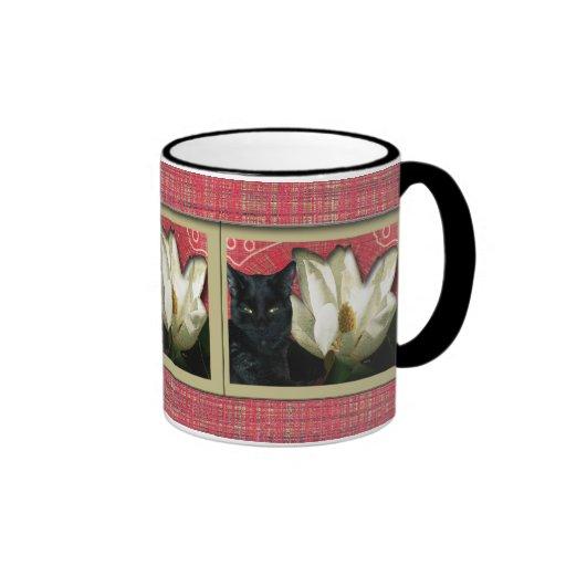 Black Cat and Magnolia Mugs