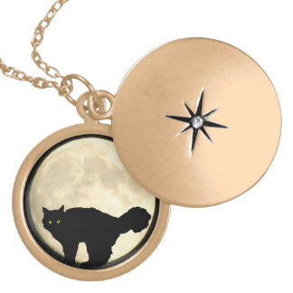 Black Cat and Moon Round Locket Necklace