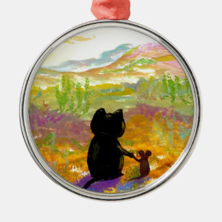 Black Cat and Mouse Colorful Art Creationarts Christmas Ornament