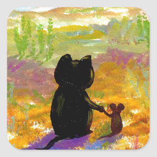 Black Cat and Mouse Colorful Art Creationarts Square Sticker