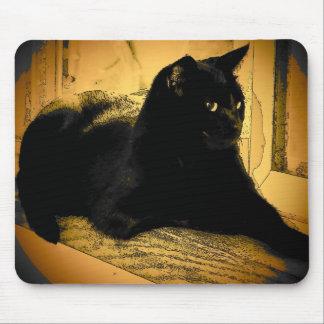 Black Cat and Orange Mouse Mat