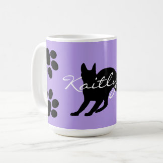 Black Cat and paws on Lavender Coffee Mug