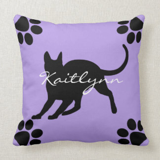 Black Cat and paws on Lavender Cushion