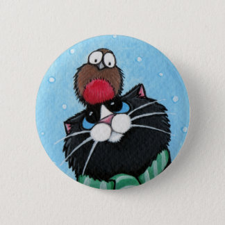 Black Cat and Robin - Xmas Cat Art Button