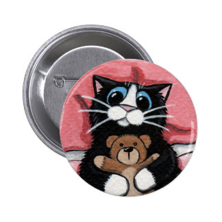 Black Cat and Teddy - Cat Art Button