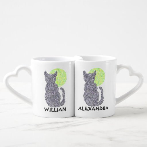 Black Cat And The Moon Personalized Nesting Mugs Lovers Mug Sets