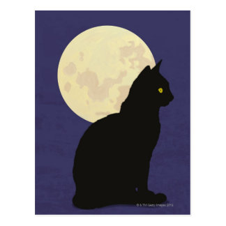 Black Cat and the Moon Postcard