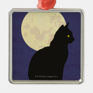Black Cat and the Moon Silver-Colored Square Decoration