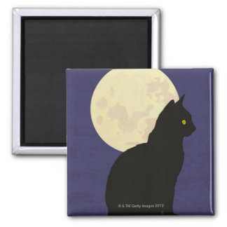 Black Cat and the Moon Square Magnet