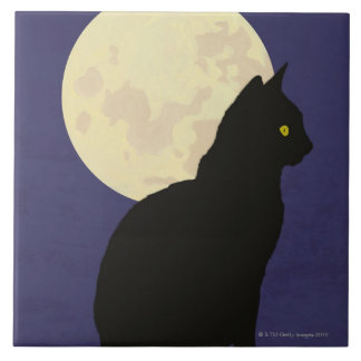 Black Cat and the Moon Tile
