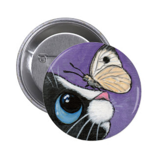 Black Cat and White Butterfly - Cat Art Button