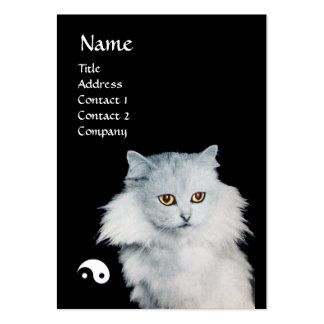 BLACK CAT AND WHITE CAT YIN YANG BUSINESS CARD TEMPLATE
