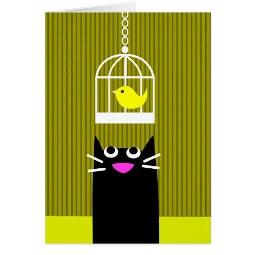 Black Cat and Yellow Bird Greeting Cards
