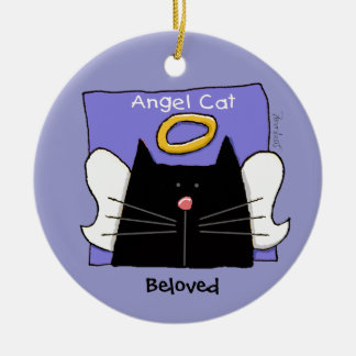 Black Cat Angel Personalize Round Ceramic Decoration