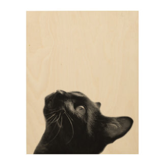 Black cat animal portrait black and white wood wall decor