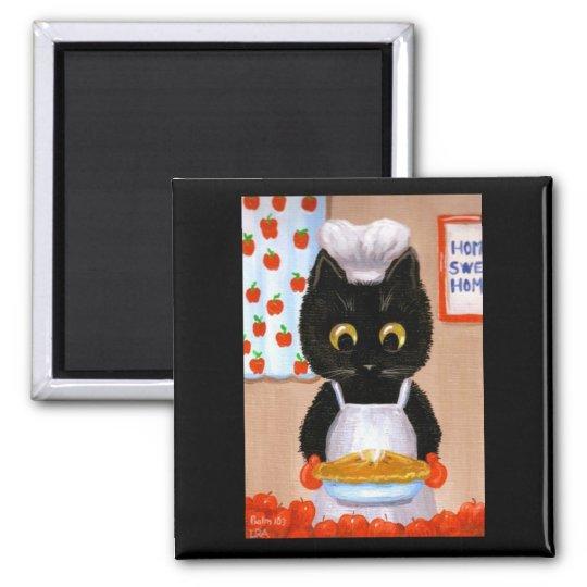 Black Cat Art Apple Magnet Creationarts Lisa Adams