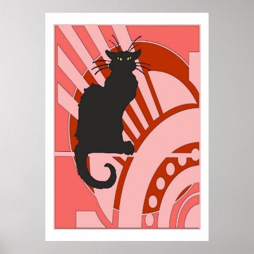 Black Cat Art Deco Poster Zazzle Co Uk