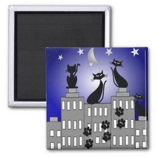 Black Cat Art for Cat Lovers Fridge Magnet