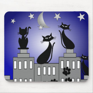 Black Cat Art for Cat Lovers Mouse Pad