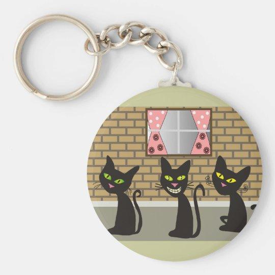 "Black Cat Art Gifts ""We Three Amigos"" Basic Round Button Key Ring"