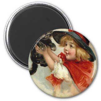 Black Cat at Halloween Vintage Greeting Magnet