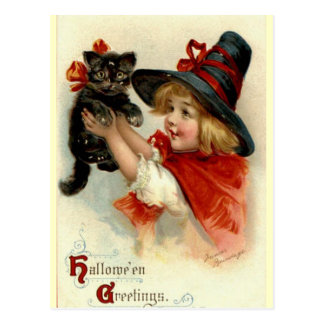 Black Cat at Halloween Vintage Greeting Postcard