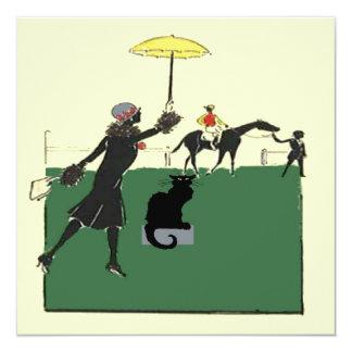 Black Cat At Horse Race 13 Cm X 13 Cm Square Invitation Card