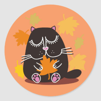 Black Cat Autumn Classic Round Sticker