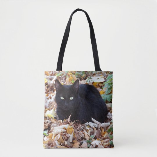 Black cat Autumn leaves All-Over-Print Tote Bag