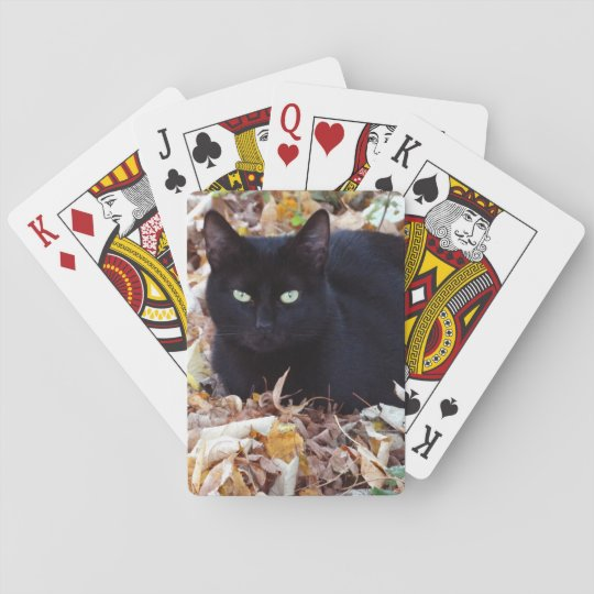 Black Cat Autumn Photo Classic Playing Cards