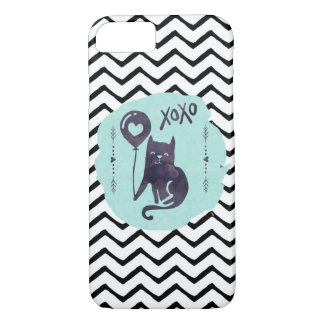 Black Cat Balloon Kitty Watercolor ZigZag xoxo iPhone 8/7 Case