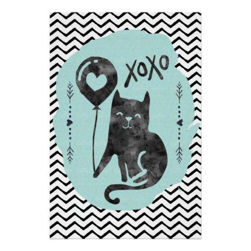 Black Cat Balloon Kitty Watercolor ZigZag xoxo Poster