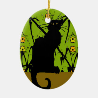 black cat bamboo christmas ornament