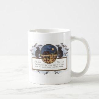 Black Cat Bat Farm Pumpkin Haystack Full Moon Coffee Mugs