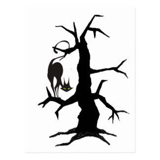 BLACK CAT & BLACK TREE by SHARON SHARPE Postcard
