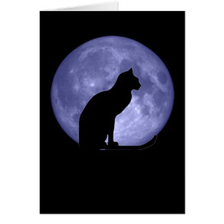 Black Cat Blue Moon Greetings card