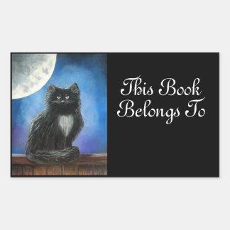Black Cat Book Label Sticker