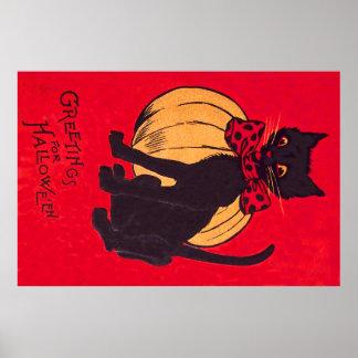 Black Cat Bowtie Pumpkin Vintage Poster