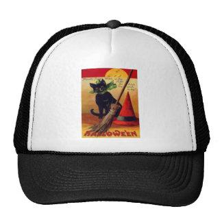 Black Cat Broom Witch s Hat Full Moon